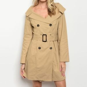 Boat Neck Double Breasted Trench Coat Tan Womens